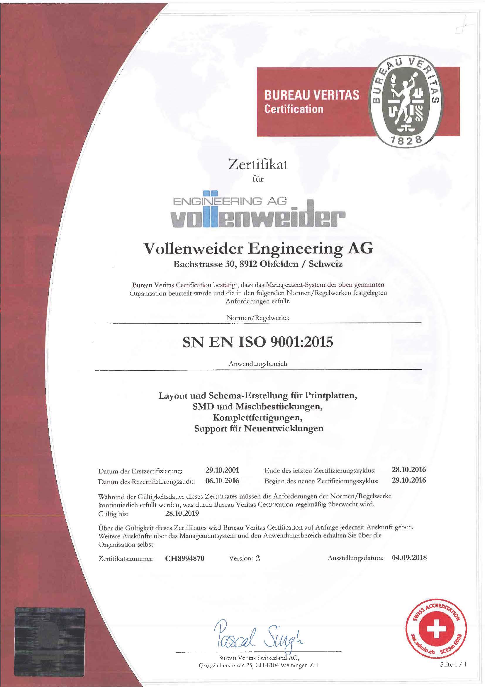 Zertifikat 2018  ISO 9001:2015